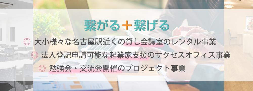 繋がる+繋げる 大小様々な名古屋駅近くの貸し会議室のレンタル事業,法人登記申請可能な起業家支援のサクセスオフィス事業,勉強会・交流会開催のプロジェクト事業